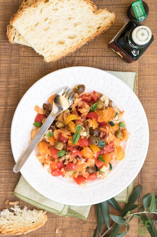 panzanella dell'orto con olio extravergine frantoio pruneti