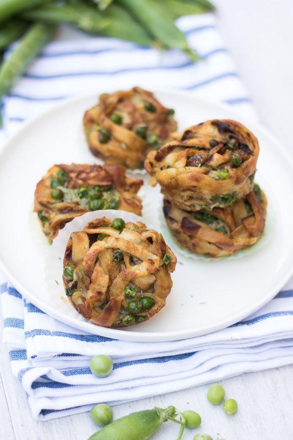 muffin di crespelle con piselli freschi