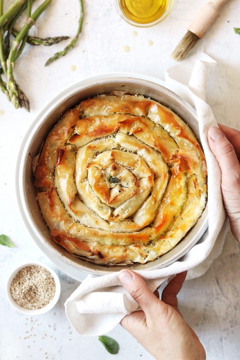 torta a spirale con asparagi